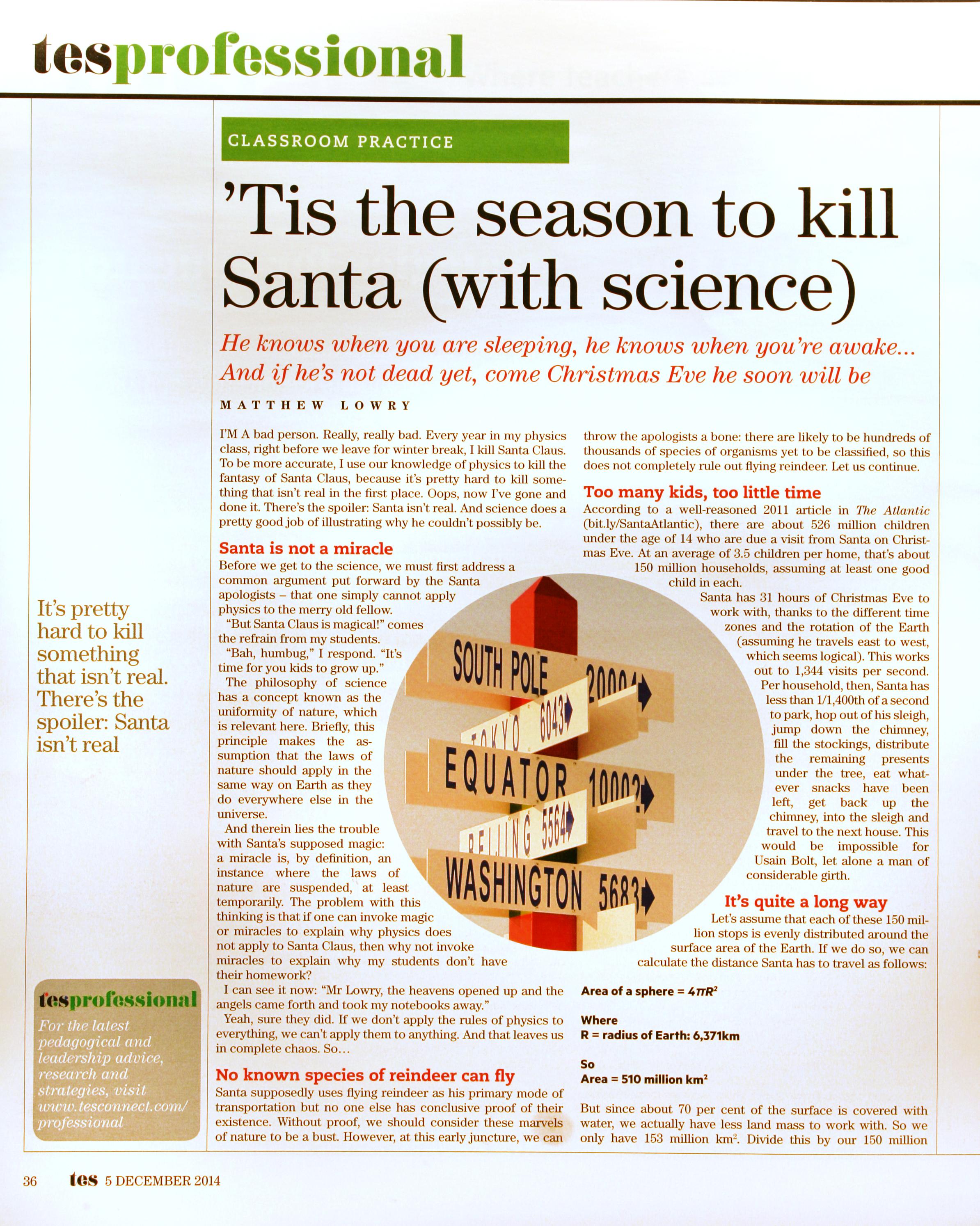 The Physics of Santa 2.0 « The Skeptical Teacher